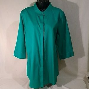 Chico's Green Quarter Sleeve Blouse